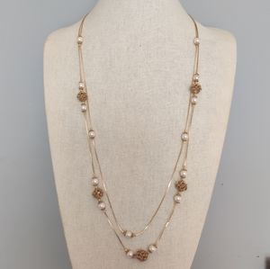 """30"""" gold pearl necklace"""